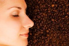 咖啡表面女孩s 图库摄影