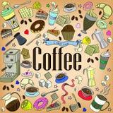 咖啡设计传染媒介线艺术 免版税库存图片