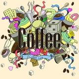 咖啡设计传染媒介线艺术 库存照片