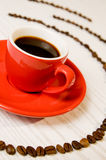 咖啡详细资料浓咖啡红色 库存图片