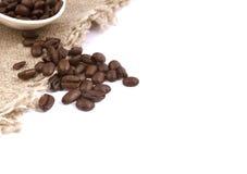 咖啡豆亚麻布背景 库存照片