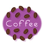 咖啡豆和咖啡文本 免版税库存照片