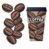 咖啡豆和咖啡杯有盒盖的 免版税库存照片