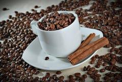 咖啡豆和桂香 免版税库存图片