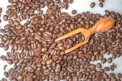 咖啡豆和橄榄色的木瓢在白色背景 图库摄影