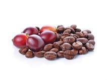 咖啡豆和红色成熟咖啡 库存照片