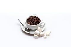 咖啡豆和蛋白软糖 库存图片