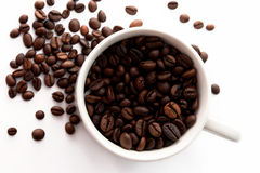 咖啡豆和Coffe杯子 免版税库存照片