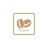 咖啡豆商标,象 免版税库存图片
