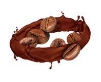 咖啡豆在巧克力在白色转动飞溅,隔绝 免版税图库摄影