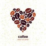 咖啡豆在心脏在难看的东西纹理背景塑造 向量 免版税库存图片