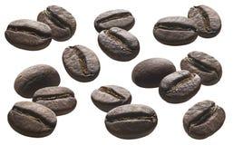 咖啡豆在白色背景设置了1被隔绝 库存照片