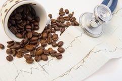 咖啡豆在纸ECG从c溢出并且驱散了在医疗听诊器附近 咖啡和咖啡因的作用对心血管s 免版税库存照片