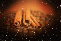咖啡豆在黑暗的背景的witn桂香与发光点燃 免版税库存图片