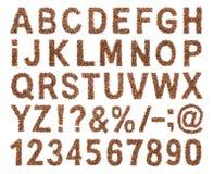 咖啡豆字体  免版税库存图片