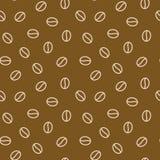 咖啡豆无缝的样式,传染媒介背景 咖啡馆菜单的,商店包装纸重复的黑褐色纹理 平面 免版税库存图片
