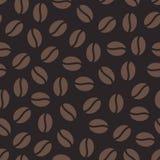 咖啡豆无缝的样式,传染媒介背景 咖啡馆菜单的,商店包装纸重复的黑褐色纹理 免版税库存图片
