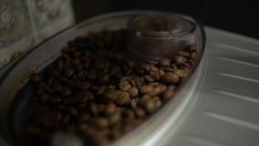 咖啡豆涌入了咖啡机 股票视频