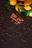 咖啡豆用在老木板的香料 桂香,坚果,八角 库存图片