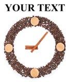 从咖啡豆的时钟 免版税库存照片