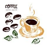 咖啡豆的速写的例证 免版税库存图片
