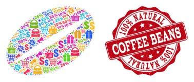 咖啡豆结构的马赛克和被抓的封印待售 库存例证