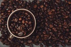 咖啡豆-顶视图 库存照片