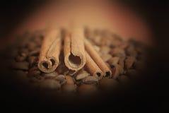 咖啡豆witn在黑暗的背景的肉桂条 免版税库存图片