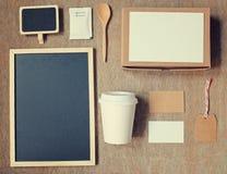 咖啡身分烙记的大模型集合顶视图 免版税库存照片