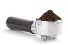 咖啡过滤器持有人设备 免版税库存照片