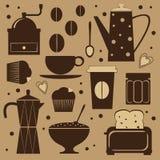 咖啡逗人喜爱的集 免版税图库摄影