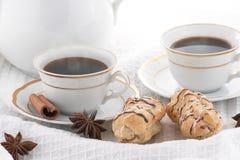 咖啡酥皮点心 免版税库存照片