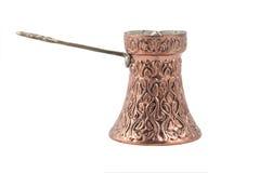 咖啡铜罐 免版税库存图片