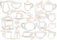 咖啡陶器茶 皇族释放例证