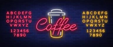 咖啡霓虹灯广告商标传染媒介例证,在霓虹样式,明亮的夜标志的象征 库存图片