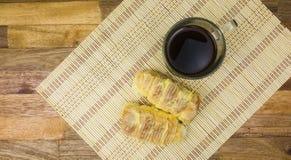 咖啡面包木木地板竹子 免版税图库摄影