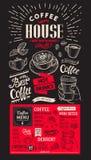 咖啡餐馆菜单 传染媒介酒吧和咖啡馆的饮料飞行物 红色 库存照片