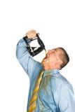 咖啡饮用的人罐 免版税库存图片
