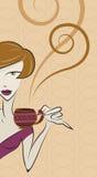 咖啡饮用的女孩向量 免版税库存图片
