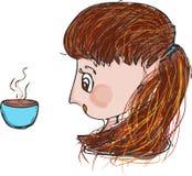 咖啡饮用的女孩早晨 免版税图库摄影