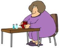 咖啡饮用的妇女 库存例证