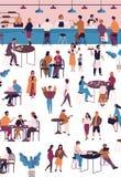 咖啡馆、咖啡馆或者浓咖啡酒吧的微小的人 坐在桌,饮用的咖啡或茶上的男人和妇女,吃 库存例证