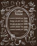 咖啡馆与一个中央卵形框架的黑板菜单 图库摄影