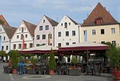 咖啡馆中央德国方形街道weiden 免版税库存照片