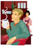 咖啡馆人年轻人 库存例证