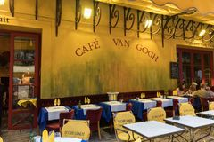 咖啡馆凡高在Place du Forum在阿尔勒 普罗旺斯, 库存照片