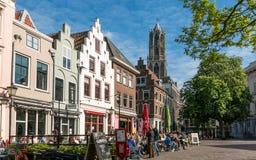 咖啡馆和老房子在乌得勒支,荷兰 免版税库存照片