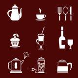 咖啡馆图标餐馆 免版税库存照片