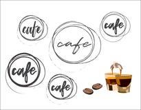 咖啡馆圆的商标收藏 免版税库存照片