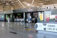 咖啡馆在国际机场伏努科沃莫斯科- 2017年7月 免版税库存图片